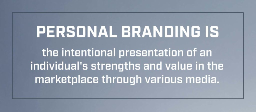 Personal Branding is the intentional presentation of an individual's strengths and value in the marketplace through various media.