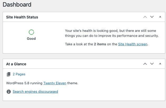 WordPress maintenance site health
